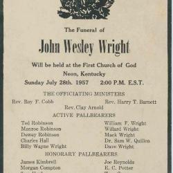 Newspaper obituary for John Wesley Wright