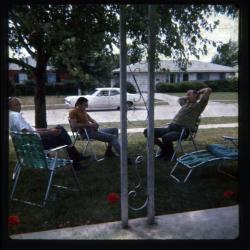 Man sitting in lawn chair