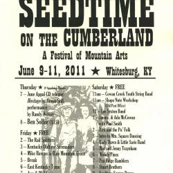 Seedtime on the Cumberland Festival poster, 2011